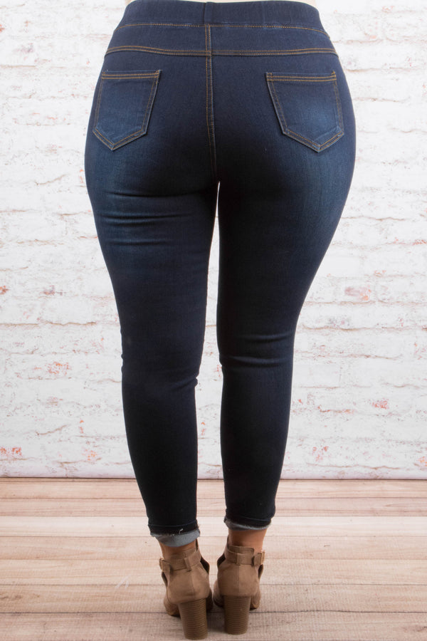 jegging, dark wash, skinny, fitted, distressed, ripped, blue