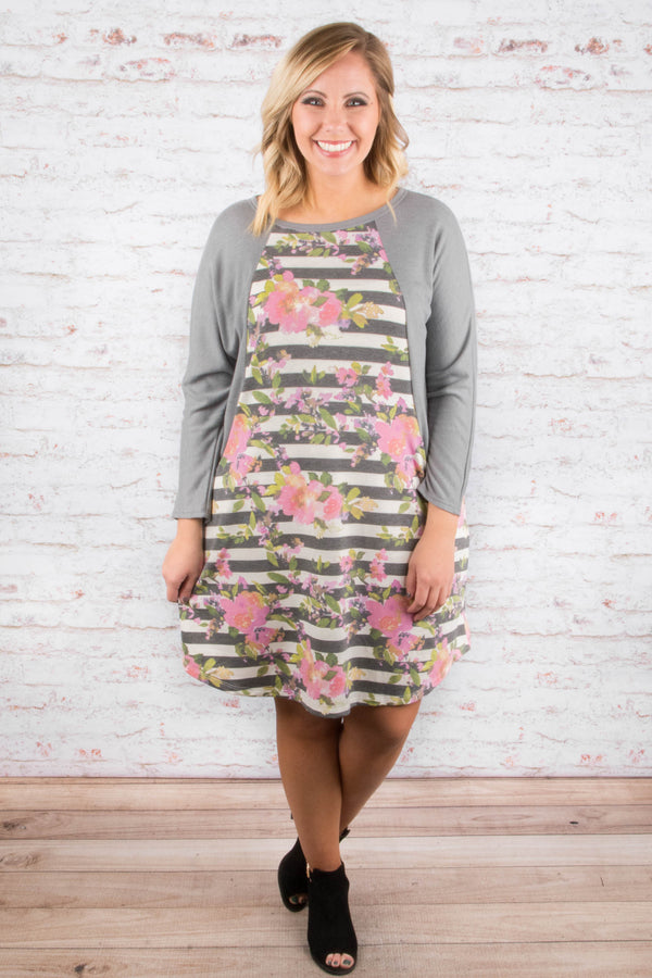 Back To Reality Dress, Gray