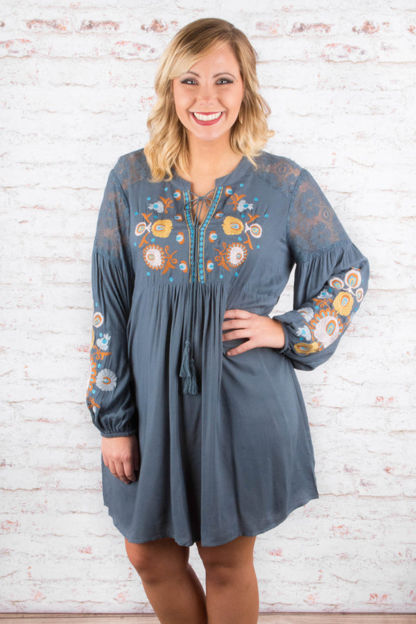 A Harvest Of Memories Dress, Slate