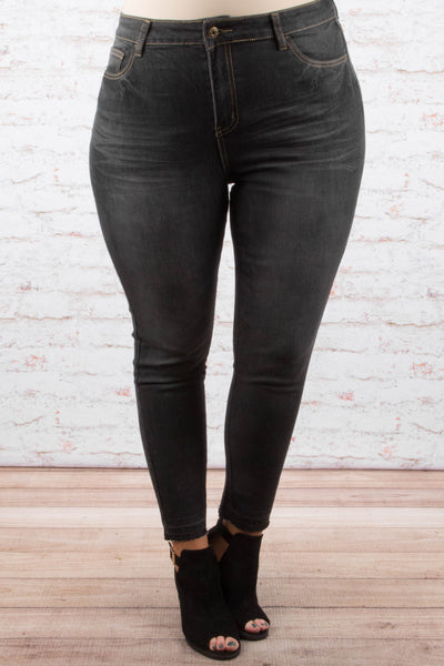 Stroll Along Skinny Jeans, Black Wash