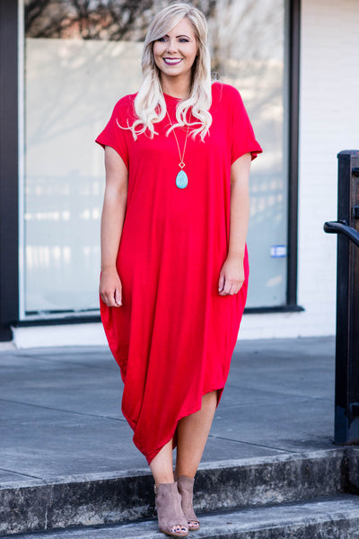 dress, long. maxi, short sleeve, round neck, solid, red, poppy, flowy