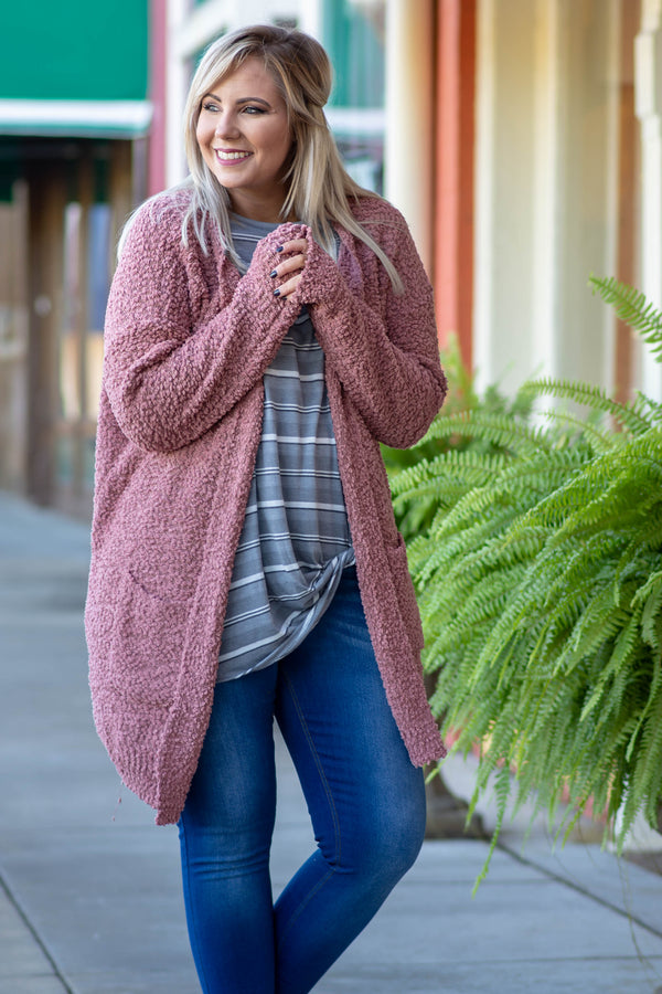 cardigan, long sleeve, long, pockets, fuzzy, flowy, mauve, comfy, fall, winter, outerwear