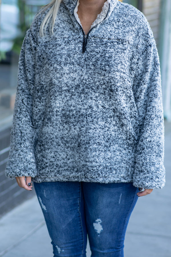 Fuzzy Feelings Pullover, Charcoal