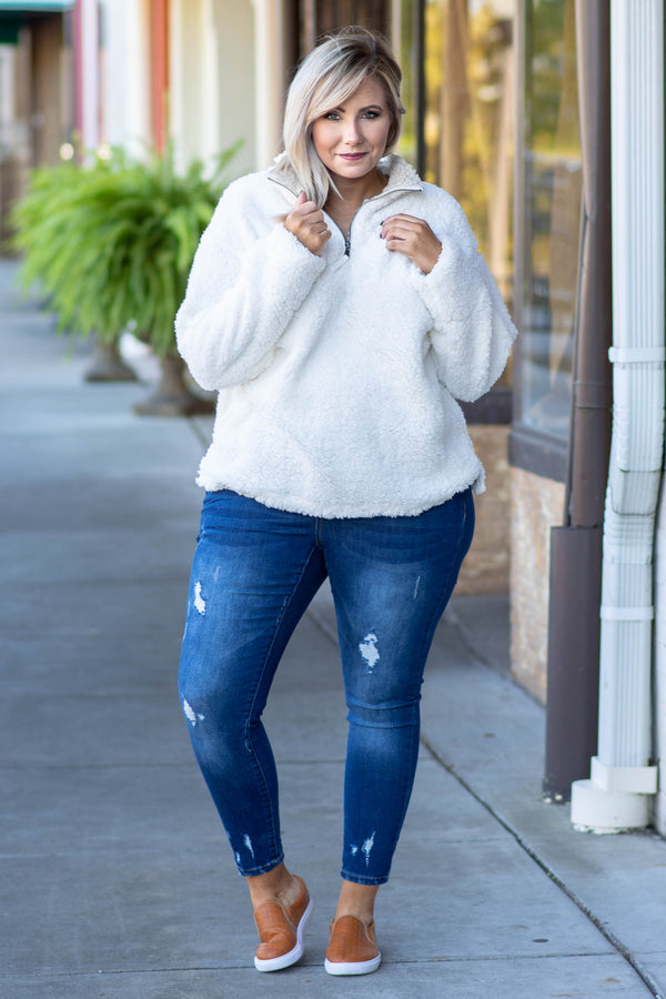 pullover, quarter zip, long sleeve, fuzzy, white, comfy, outerwear, fall, winter, white