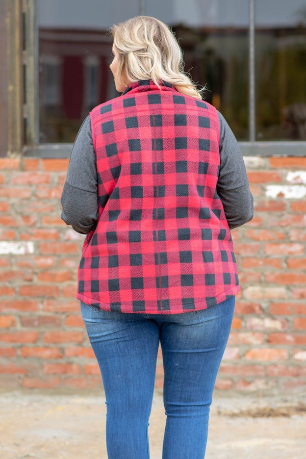 vest, buffalo plaid, zip up, red, charcoal