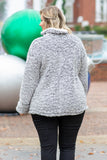 pullover, sherpa, heather gray, pockets, long sleeve, quarter zip