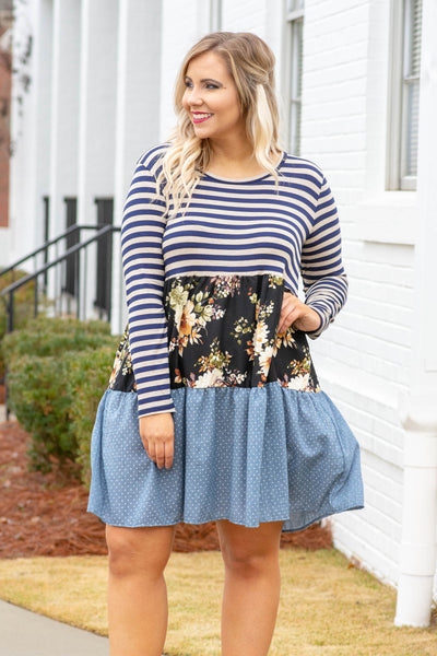 dress, short, flowy, long sleeve, round neck, stripes, floral, polka dots, blue
