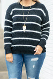 top, long sleeve, sweater, black, white stripes, fuzzy