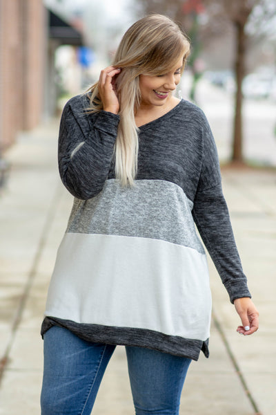 top, long sleeve, color block, black, charcoal, gray