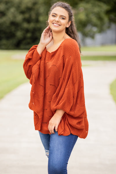 top, sweater, loose, comfy, long, long sleeve, rust, scalloped design, off the shoulder