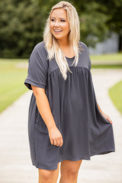 dress, short dress, knee length, loose, comfy, short sleeve, baby doll, charcoal, gray