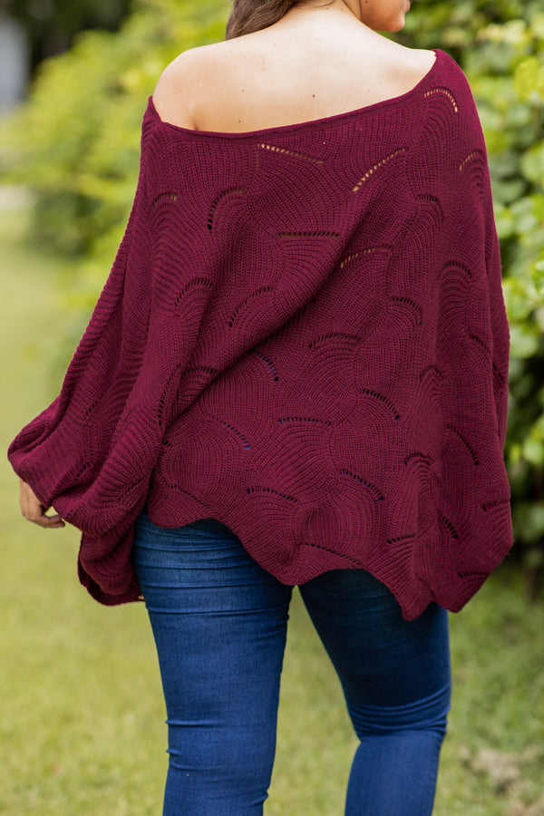 top, sweater, off the shoulder, soft, loose, comfy, scalloped pattern, burgundy, fall, winter