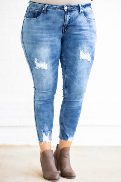 figure flattering, distressed, jeans, raw hem, fitted, medium wash, long, pants