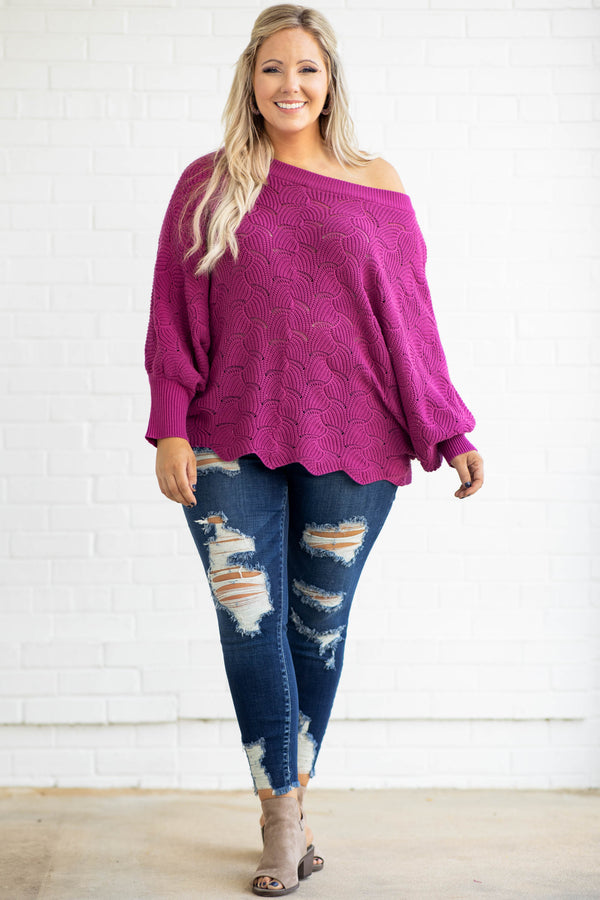 off the shoulder, sweater, pattern, texture, long sleeve, magenta, over sized, sweater, comfy, scallop