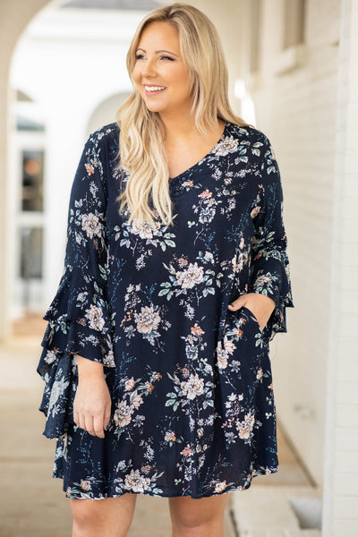 sleeves, ruffle, flowy, dress, navy, floral, v neck, above the knee, trendy, pockets