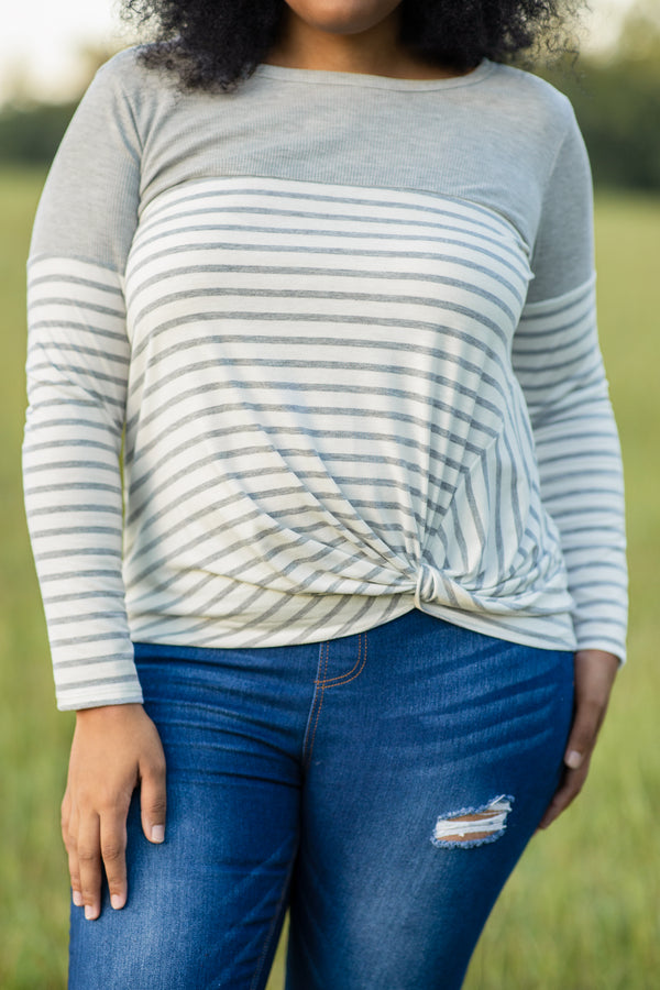 shirt, top, long sleeve, knotted hem, striped, gray, white, loose, comfy