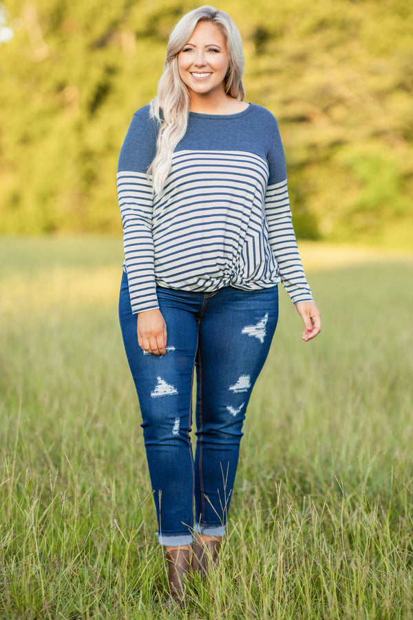 shirt, top, long sleeve, knotted hem, striped, teal, white, comfy