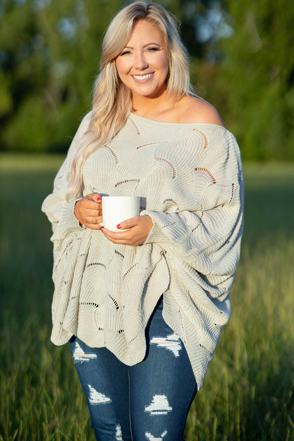 off the shoulder, flowy, over sized, light grey, sweater, comfy, long sleeve, detail