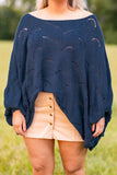 shirt, top, sweater, scalloped deisng, loose, comfy, fall, winter, navy, blue, loose neckline, wide neck