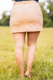 skirt, short skirt, above the knee, button front, natural, tan, figure flattering