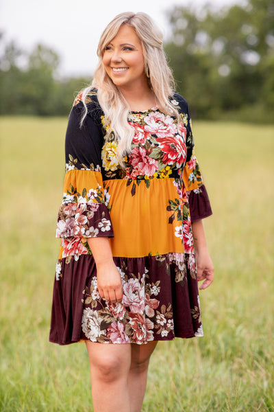 dress, short dress, baby doll, bell sleeve, three quarter sleeve, color block, mixed prints, floral, burgundy, black, mustard