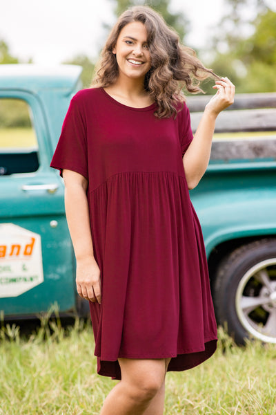 dress, short dress, above the knee, baby doll, burgundy, dark burgundy, red, short sleeve, loose, comfy