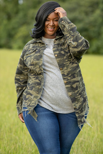 distressing, flowy fit, camo, jacket, buttons, print, neutral, figure flattering, cozy, trendy