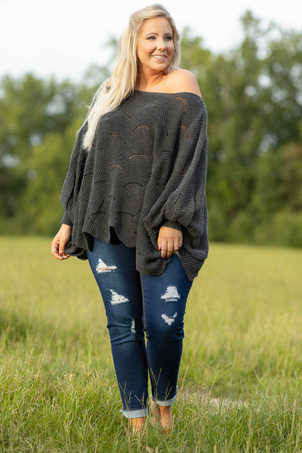 figure flattering, oversized, off the shoulder, comfy, cute, sweater, solid, neutral