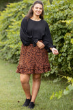 figure flattering, flowy, mocha, neutral, print, above the knee, skirt, black
