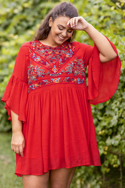 dress, short dress, above the knee, loose, comfy, embroidered, red, three quarter sleeve, bell sleeve