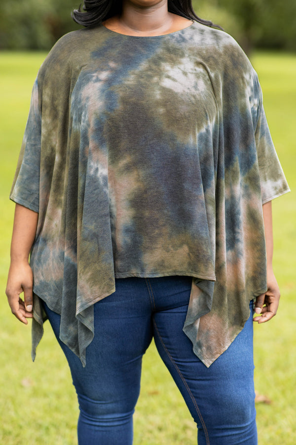 tunic, flowy, tie dye, neutral, over sized fit, asymmetrical hemline, short sleeves