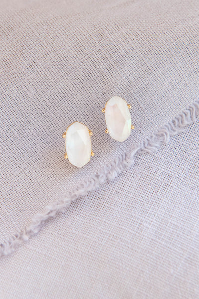accessory, earrings, stud, gold, white, solid