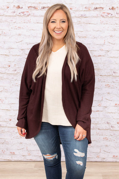 top, cardigan, wine, red, long sleeve, solid