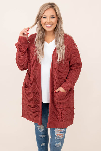 top, cardigan, mauve, pink, solid, long sleeve, pockets