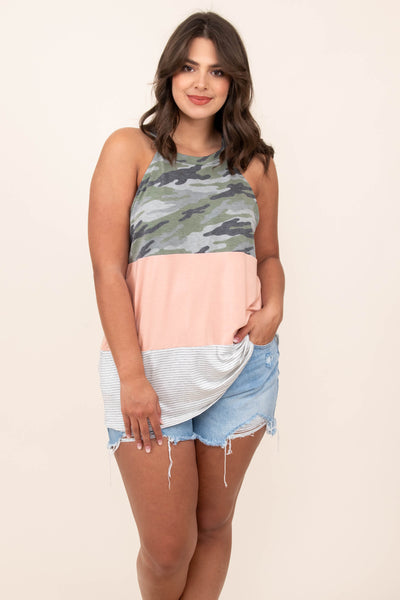 top, tank, colorblock, camo, stripes, sleeveless, grey
