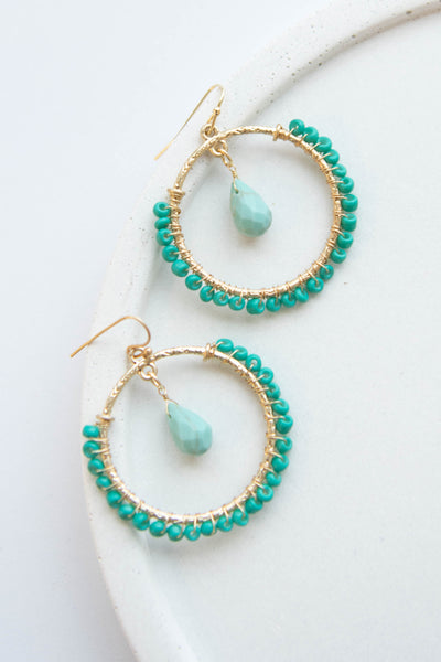earrings, turquoise, dangle, blue, crystal, stone
