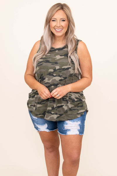 top, tank, camo, comfy, basic , green