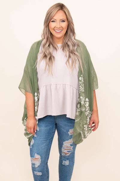 top, kimono, white embroider, sage, mid length sleeve