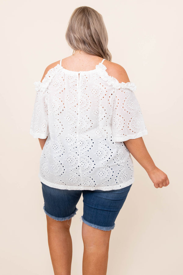 top, shirt, blouse, white, lace, flutter sleeve