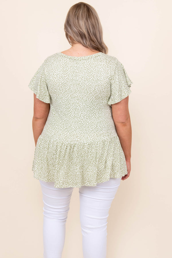 tops, casual, babydoll, green, solid, short sleeve, sage
