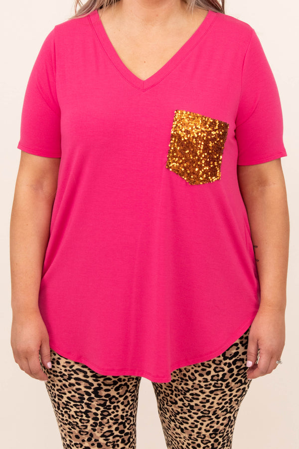 top, casual, pink, solid, short sleeve, fuchsia