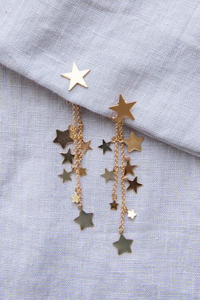 accessory, earrings, dangle, graphic, gold, star