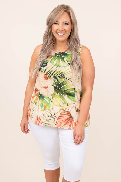 top, tank, brown, floral, green, natural, tank sleeve