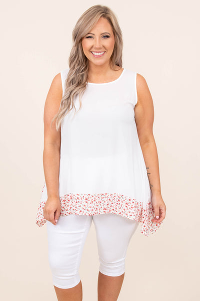 top, tank, white, floral, tank sleeve