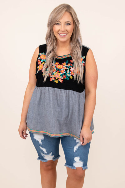 top, tank, babydoll, charcoal, gray, embroidered, floral, tank sleeve