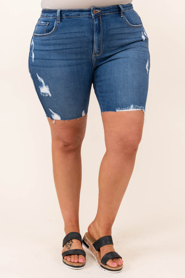 bottoms, shorts, blue, distressed, bermuda, dark wash