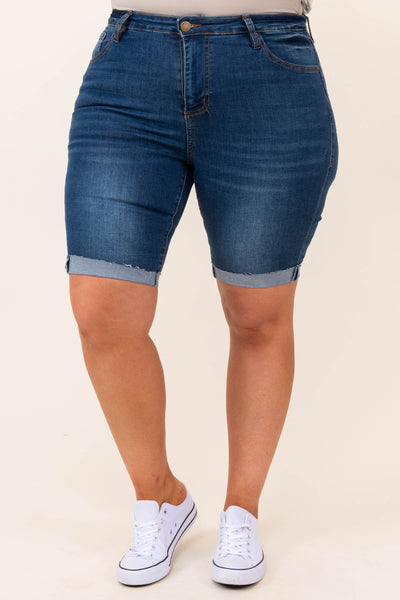 bottoms, shorts, blue, medium wash, solid, bermuda