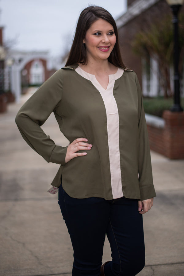 Raise The Bar Blouse, Olive