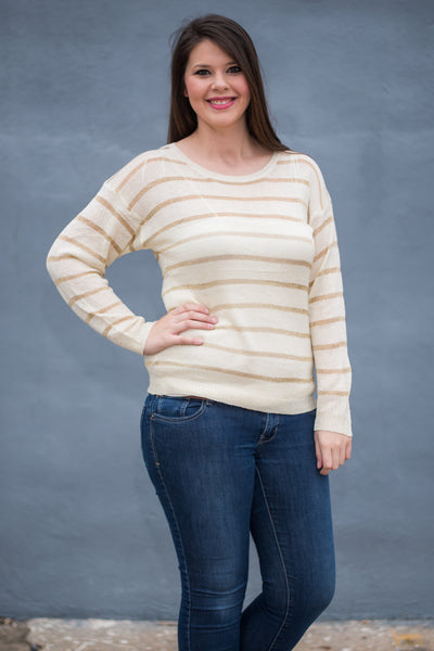 Sassy Stripes Top, Ivory
