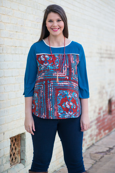 Water Waves Blouse, Blue-Red